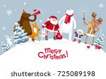 Christmas Party in the winter forest with the participation of Santa Claus and funny cartoon forest animals: elk, deer, fox, bear and polar bear. For posters, banners, sales and other winter events. | Shutterstock vector #725089198