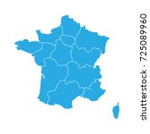 blue map of france divided into ... | Shutterstock .eps vector #725089960