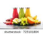 row fresh juices smoothie three ... | Shutterstock . vector #725101804