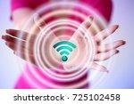 businesswoman using free wifi... | Shutterstock . vector #725102458