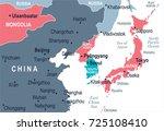 north korea south korea japan... | Shutterstock .eps vector #725108410