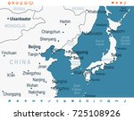 north korea south korea japan... | Shutterstock .eps vector #725108926