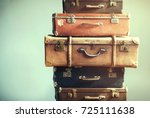 vintage ancient luggage...   Shutterstock . vector #725111638