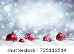 christmas card   red baubles... | Shutterstock . vector #725112514