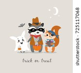 Stock vector cute halloween greeting card with funny little animals trick or treating 725117068
