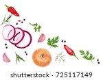 onions  garlic  hot pepper and... | Shutterstock . vector #725117149