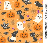 halloween seamless pattern with ... | Shutterstock .eps vector #725117650