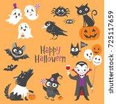 set of cute halloween... | Shutterstock .eps vector #725117659