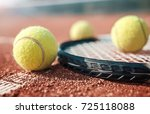 tennis game. tennis ball with... | Shutterstock . vector #725118088