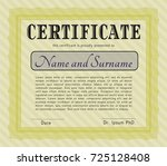 yellow sample diploma. good... | Shutterstock .eps vector #725128408