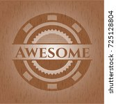 awesome realistic wooden emblem | Shutterstock .eps vector #725128804