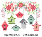 vector birdhouses hanging from... | Shutterstock .eps vector #725130133