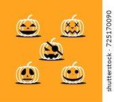 pumpkin cartoon icon set for ... | Shutterstock .eps vector #725170090