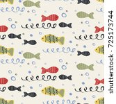 sea fish seamless pattern. hand ... | Shutterstock .eps vector #725173744