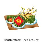 cooked square glutinous rice...   Shutterstock .eps vector #725175379