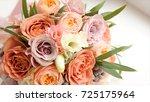 wedding bouquet of roses. bride'... | Shutterstock . vector #725175964