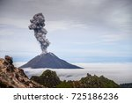 eruption volcano  mt sinabung ... | Shutterstock . vector #725186236