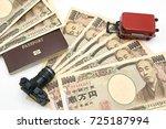 camera model red luggage model... | Shutterstock . vector #725187994