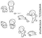 vector set of man and dog | Shutterstock .eps vector #725206444