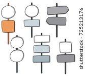 vector set of direction post | Shutterstock .eps vector #725213176