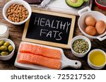 selection of healthy fat... | Shutterstock . vector #725217520