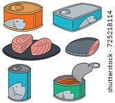 vector set of canned fish | Shutterstock .eps vector #725218114