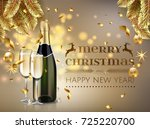 merry christmas and happy new... | Shutterstock .eps vector #725220700