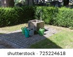 on a cemetery in south germany... | Shutterstock . vector #725224618