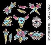 old school set of esoteric... | Shutterstock .eps vector #725227330