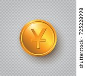 gold coin with yuan sign on a... | Shutterstock .eps vector #725228998