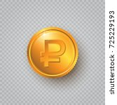 gold coin with ruble sign on a... | Shutterstock .eps vector #725229193