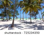 perfect white sandy beach with... | Shutterstock . vector #725234350