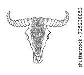 mandala tattoo style dead cow... | Shutterstock . vector #725238853