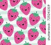 strawberries kawaii fruits... | Shutterstock .eps vector #725241319