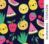 kawaii fruits pattern set with... | Shutterstock .eps vector #725241346