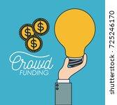 crowd funding poster of hand... | Shutterstock .eps vector #725246170