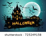 halloween night background... | Shutterstock .eps vector #725249158