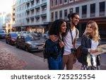 woman tourist using navigation... | Shutterstock . vector #725252554
