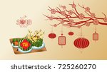 cooked square glutinous rice... | Shutterstock .eps vector #725260270