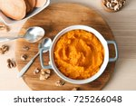 mashed sweet potato in... | Shutterstock . vector #725266048