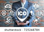 man using smartphone with ico ... | Shutterstock . vector #725268784
