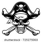 a skull and crossbones dressed... | Shutterstock .eps vector #725275003