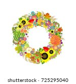 autumnal decorative wreath with ... | Shutterstock . vector #725295040