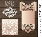 die laser cut wedding card... | Shutterstock .eps vector #725301100