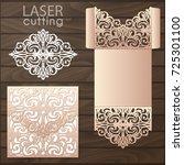 die laser cut wedding card... | Shutterstock .eps vector #725301100