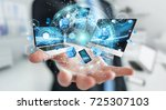 tech devices connected to each... | Shutterstock . vector #725307103
