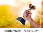 champion trophy winner award...   Shutterstock . vector #725312224