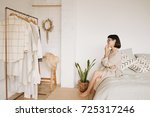 young pretty lady with short... | Shutterstock . vector #725317246