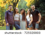 five young people friends...   Shutterstock . vector #725320003