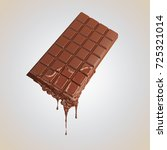 chocolate bar with melted.... | Shutterstock . vector #725321014